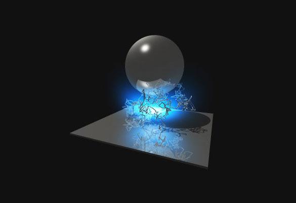 es una imagen que representa las fluctuaciones del vacio entre una esfera y una superficie plana ...