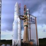 El cohete Ariane-V, listo para despegar. Foto de Fernando Lombardo