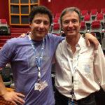 El físico Fernando Lombardo, en la base de Kourou, junto a Andrés Rodríguez, jefe del proyecto ARSAT-1 por ARSAT
