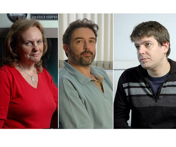 Elsa Damonte, Juan Pablo Paz y Sebastián Uchitel. Fotos: Archivo Exactas Comunicación.