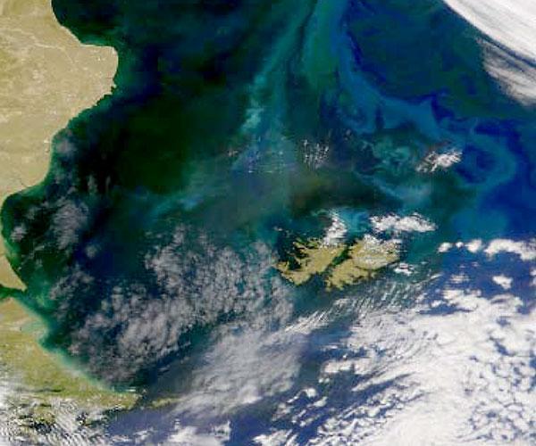 Imagen satelital del Mar Patagónico.