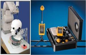 Izquierda: Sistema para medir la Tasa de Absorción Específica (SAR) para teléfonos celulares. Derecha: Medidor de niveles de Radiaciones no Ionizantes.
