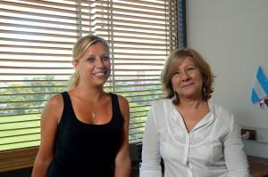 María Victoria Plaza y Elsa  Meinardi. Foto: Diana Martinez Llaser. Exactas-comunicación.