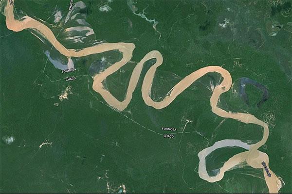 Imagen satelital del río Bermejo.