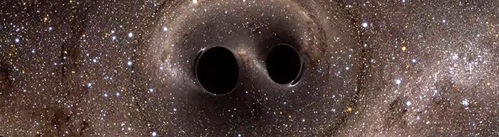 Simulación computada de la colisión de dos agujeros negros. Un evento tremendamente poderoso detectado por primera vez por el observatorio LIGO. Imagen: uoregon.edu