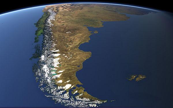 Imagen satelital de las costas del sur de Sudamérica.
