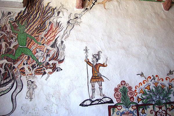 Pintura mural de la Iglesia de Copacabana de Andamarca (Bolivia)