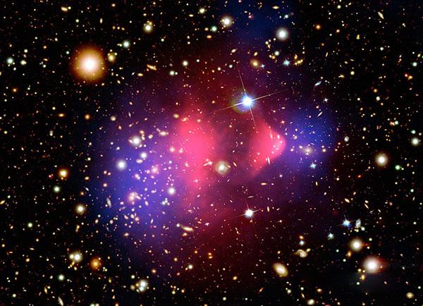 El cúmulo Bala consiste de dos cúmulos de galaxias en colisión. Los estudios hechos sobre este cúmulo, presentados en agosto de 2006, constituyen hasta ese momento la mejor evidencia en favor de la existencia de la materia oscura. Foto: NASA.