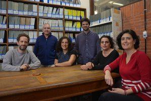 (De izq. a der.) Julián Faivovich, Darío Estrin, Lucía Chemes, Federico Pedron, Sara Bari, Gabriela Lagorio.