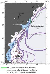 Representación esquemática de la circulación en la Plataforma del Atlántico Sudoccidental; del agua subantártica de plataforma, y del agua subtropical de plataforma.