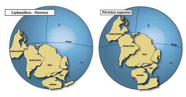 La región pampeana de la Argentina estaba, hace 290 millones de años, en latitudes extremadamente australes, más al sur de la actual Tierra del Fuego y casi llegando a la Península Antártica. Adaptado de Tomezzoli et al, 2018.