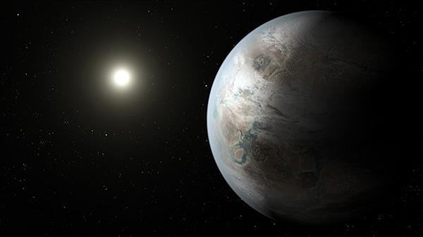 La imagen representa al planeta Kepler-452b, el primer mundo casi del tamaño de la Tierra que se encuentra en la zona habitable de la estrella que es similar a nuestro sol. NASA.