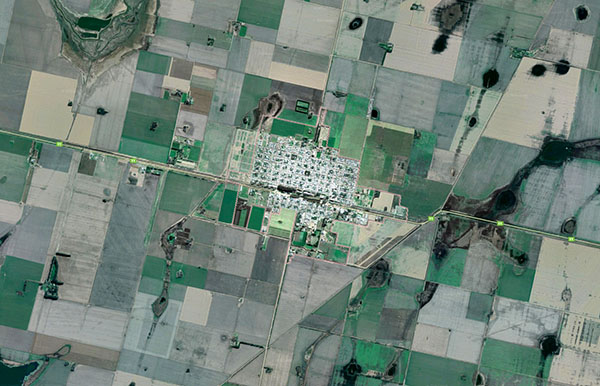 Monte Maíz es una pequeña ciudad agrícola de Córdoba, rodeada de campos cultivados con soja y maíz transgénico. Diariamente, grandes cantidades de glifosato son aplicadas por medio de maquinarias terrestres o aviones fumigadores.. Imagen: Google Maps.