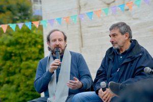 Pecheny, junto a Roberto Salvarezza, participó del Festival Ciencia Paliza que se desarrolló en el Parque Rivadavia.