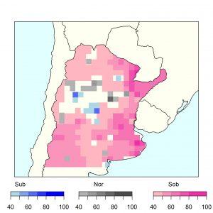 El mapa muestra a más de la mitad del país con señales de una mayor ocurrencia de altas temperaturas por encima de lo habitual (marcado en color rosa).
