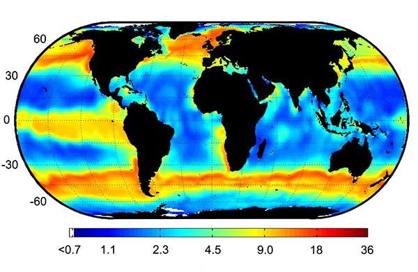 Distribución global del fitoplancton picoeucariota.