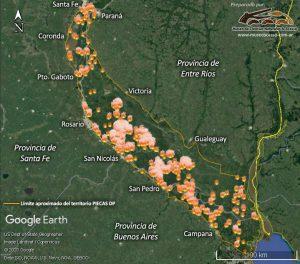 Mapa con el seguimiento de los focos de calor en el Delta del Paraná.
